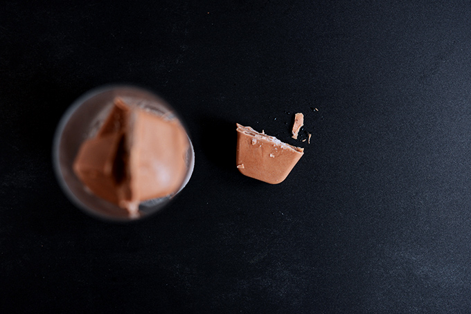 Glass of Chocolate Coconut Milk Ice Cubes