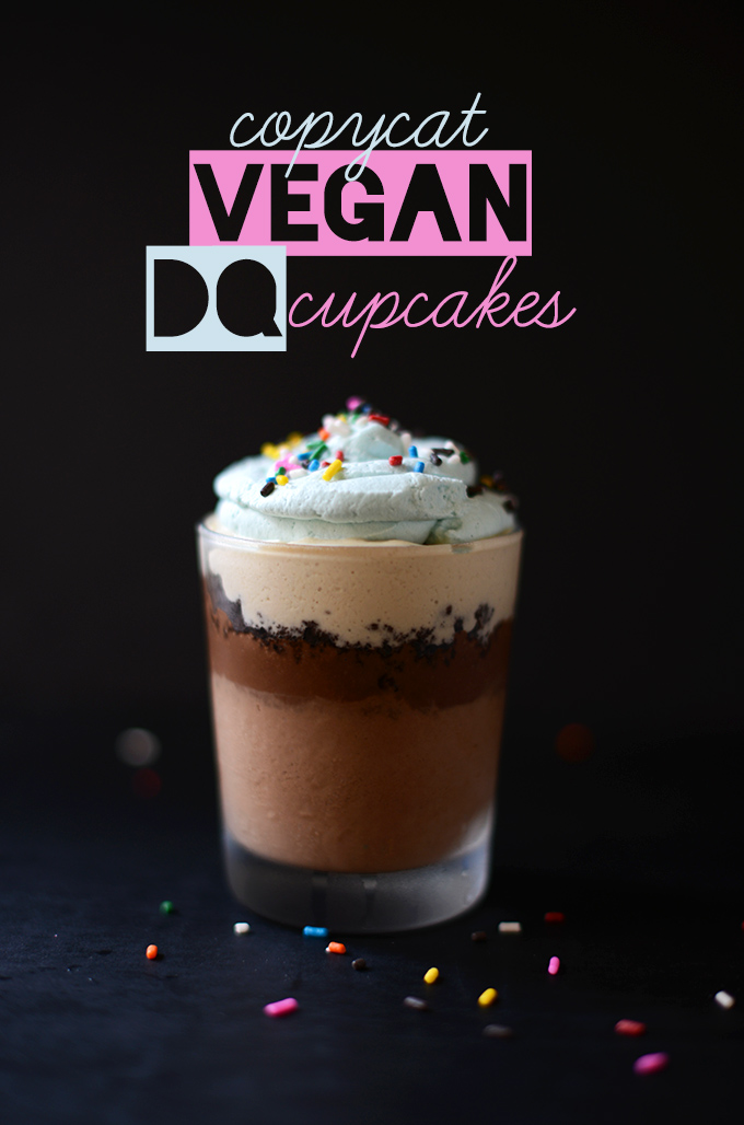 Glass filled with our Copycat Vegan DQ Cupcake recipe
