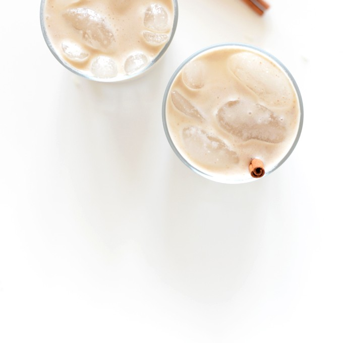 Two glasses of vegan Date-Sweetened Horchata with cinnamon