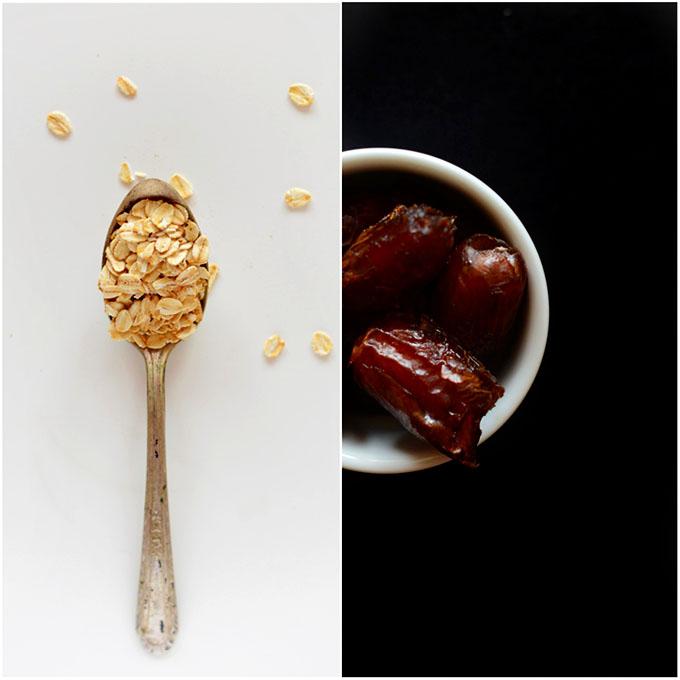 Spoonful of oats and bowl of dates for making homemade granola bars