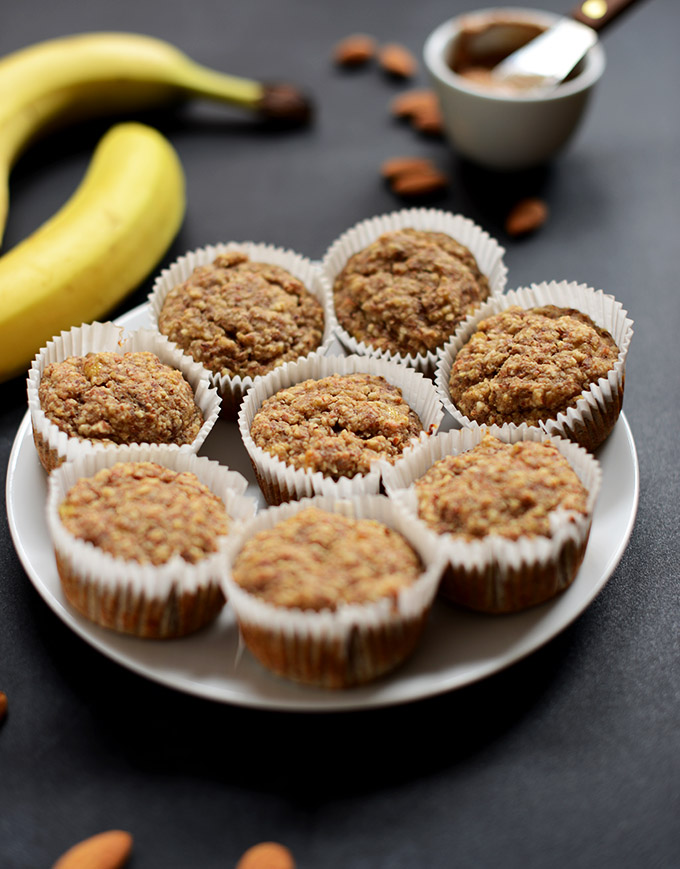 Plate filled with a batch of our Gluten-Free Banana Almond Meal Muffins recipe