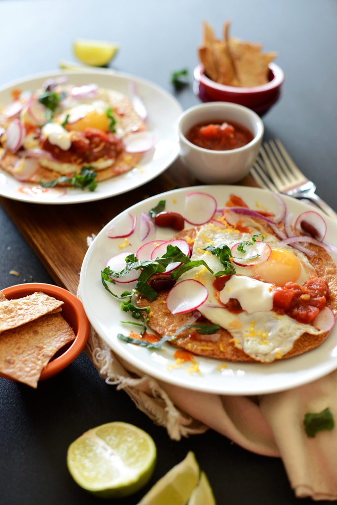 Plates of our Mexican Toastadas for a healthy gluten-free breakfast