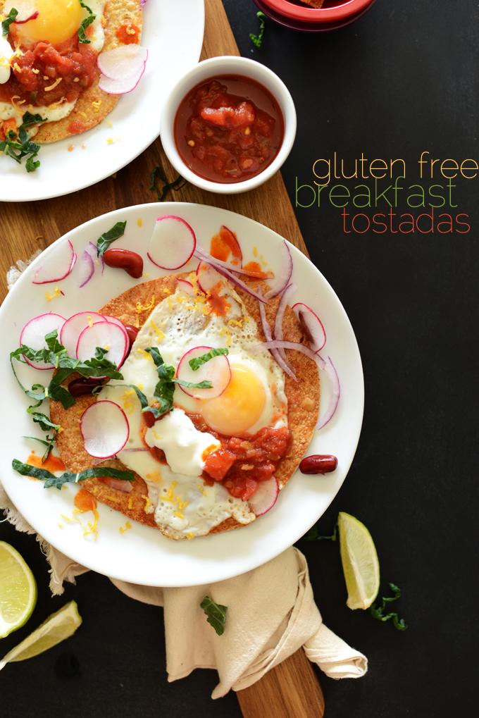 Big plates of our Gluten-Free Breakfast Tostadas recipe with salsa