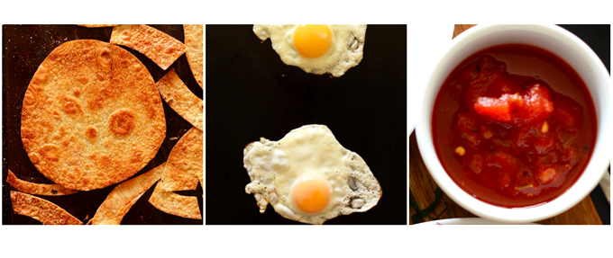 Brown rice tortillas, fried eggs, and salsa for making breakfast tostadas