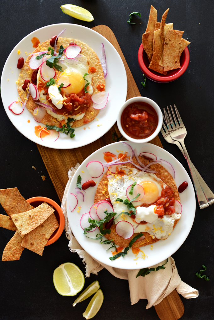 Two servings of our delicious Gluten-Free Mexican Breakfast Tostadas