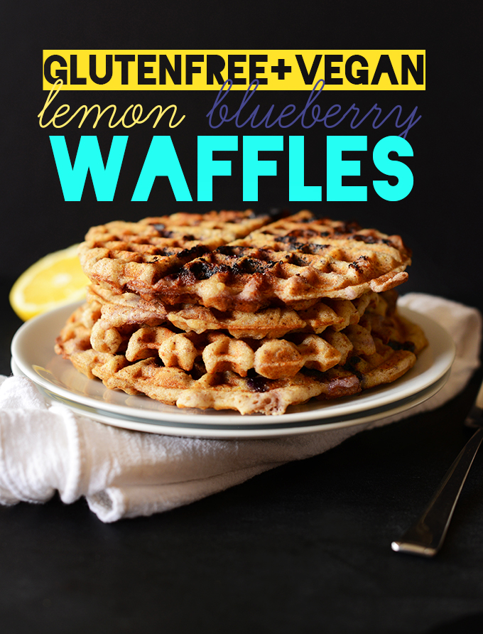 Stack of our Gluten-Free Lemon Blueberry Waffles recipe