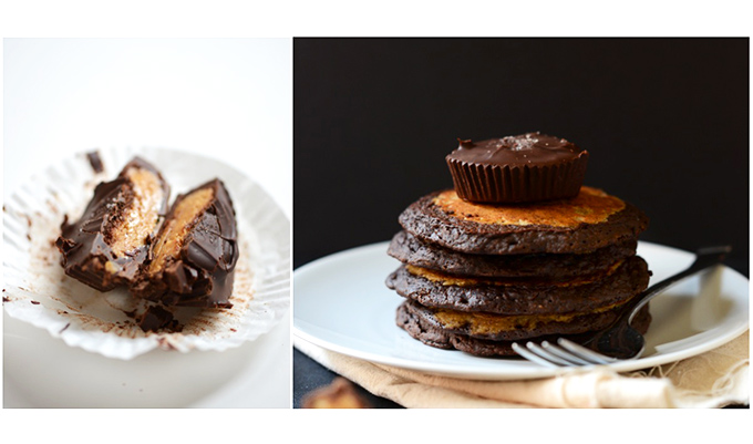 Stack of Peanut Butter Cup Pancakes topped with a peanut butter cup