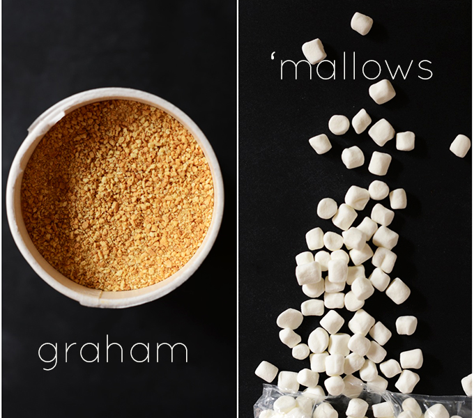 Crushed graham cracker pieces and marshmallows for making our Smores Rice Krispies recipe