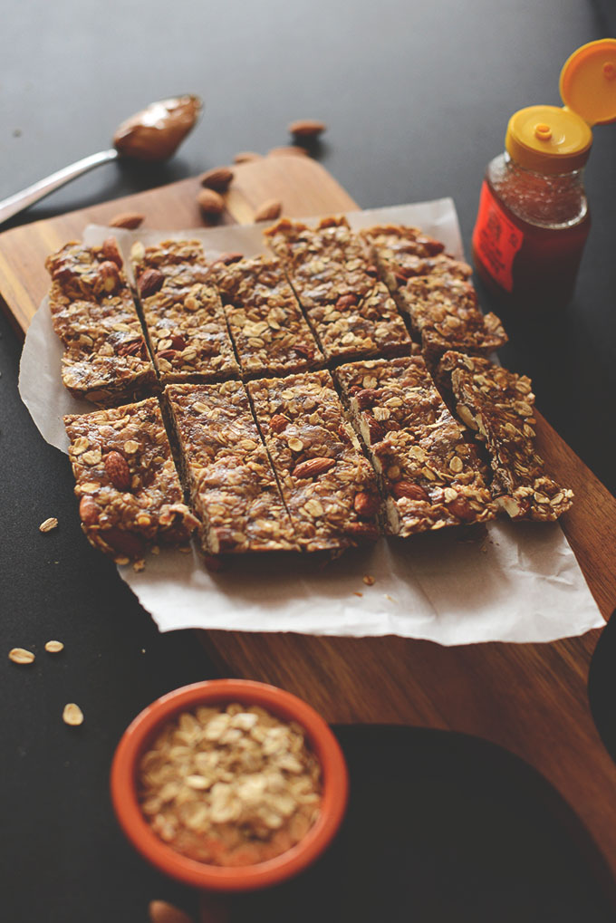 Cutting board with a batch of our Healthy Granola Bars recipe