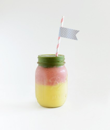 Festive Stoplight Mango Green Smoothie in a jar