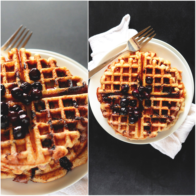 Plates of Lemon Blueberry GF Waffles
