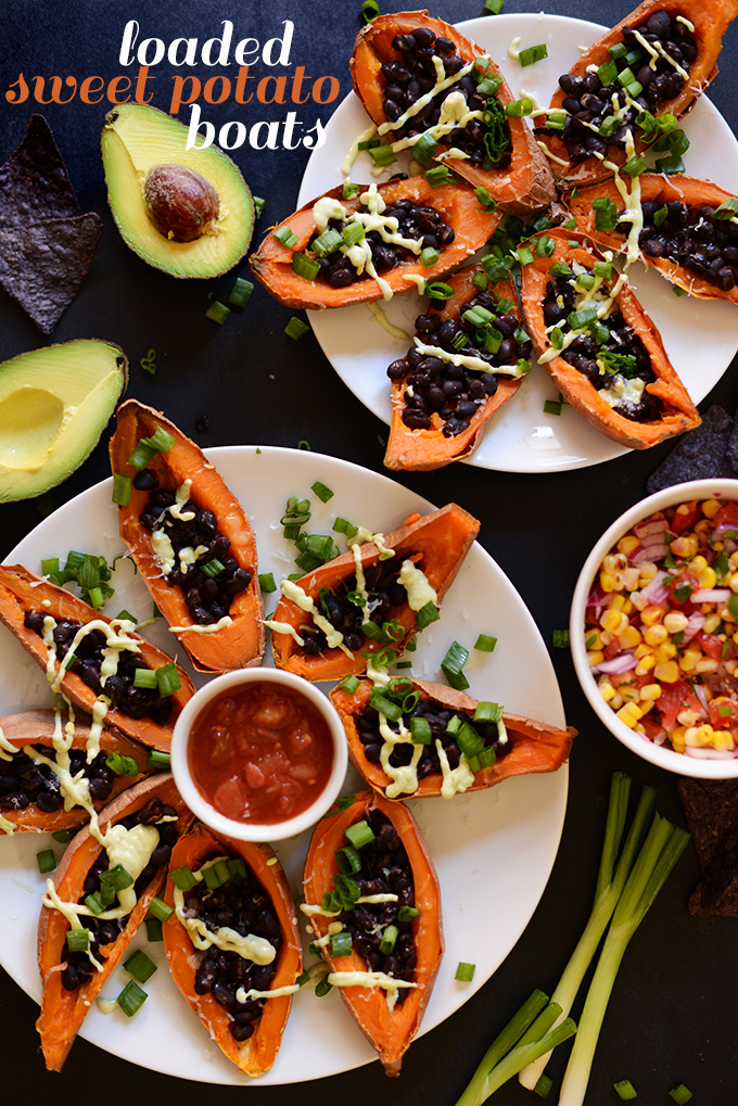 Plates of our Loaded Sweet Potato Black Bean Boats recipe