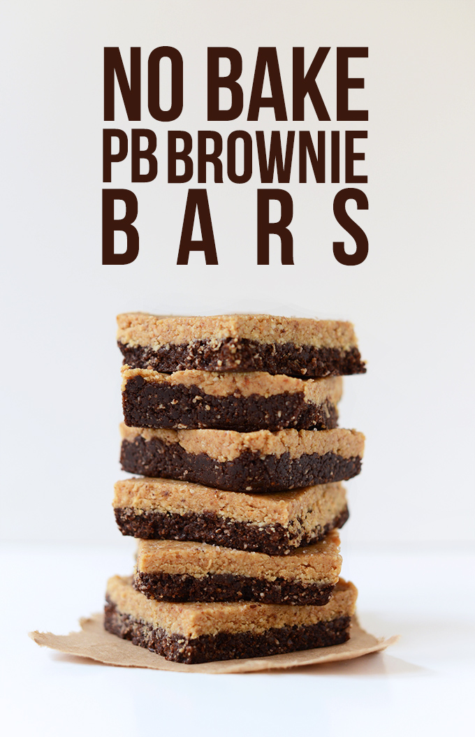 Stack of homemade No Bake Peanut Butter Brownie Bars