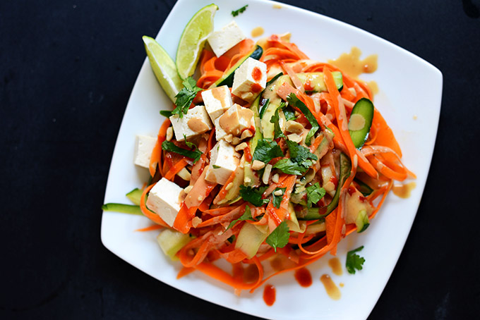 Plate of our Noodle-Free Pad Thai with Tofu recipe