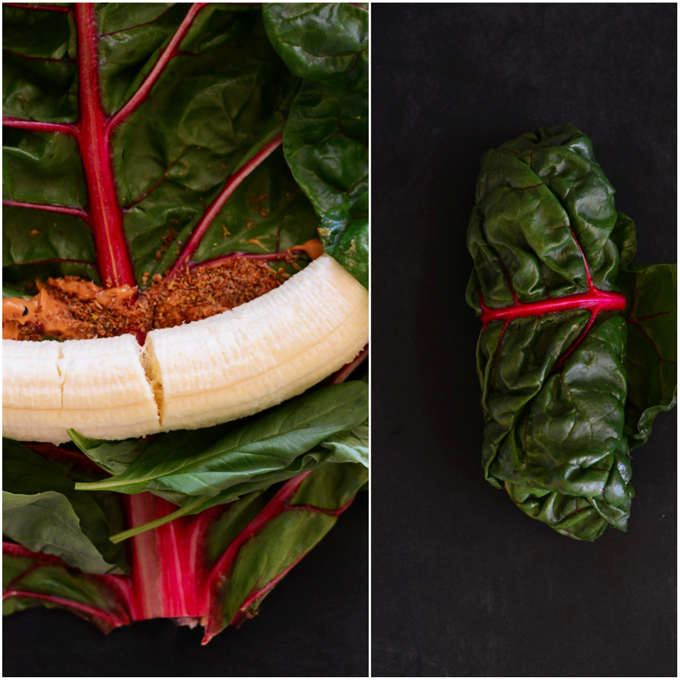 Rolling peanut butter and banana in a rainbow chard leaf for a simple snack