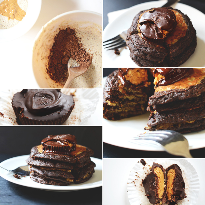 Series of photos of our Gluten-Free Vegan Peanut Butter Cup Pancakes recipe
