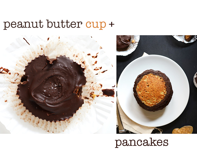 A peanut butter cup and a stack of Peanut Butter Cup Pancakes