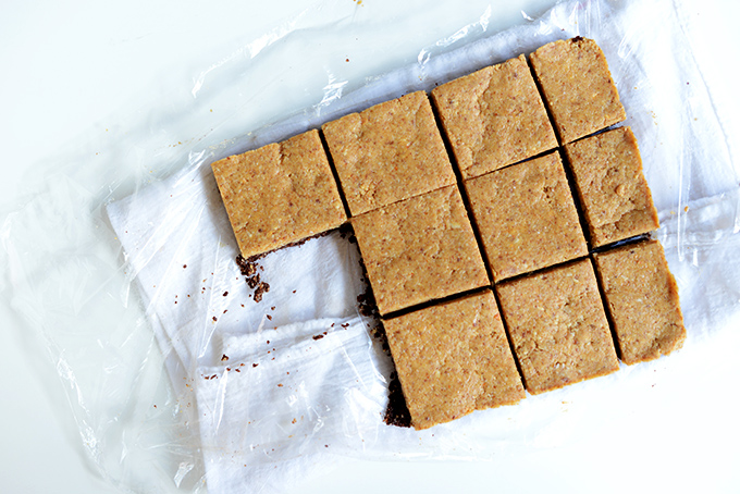 Sliced batch of our Peanut Butter No-Bake Brownies
