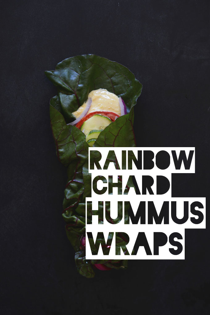 Rainbow Chard leaf wrapped around hummus and veggies