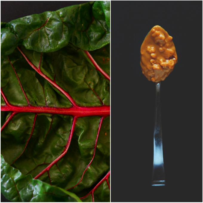 Rainbow chard leaf and spoonful of chunky peanut butter