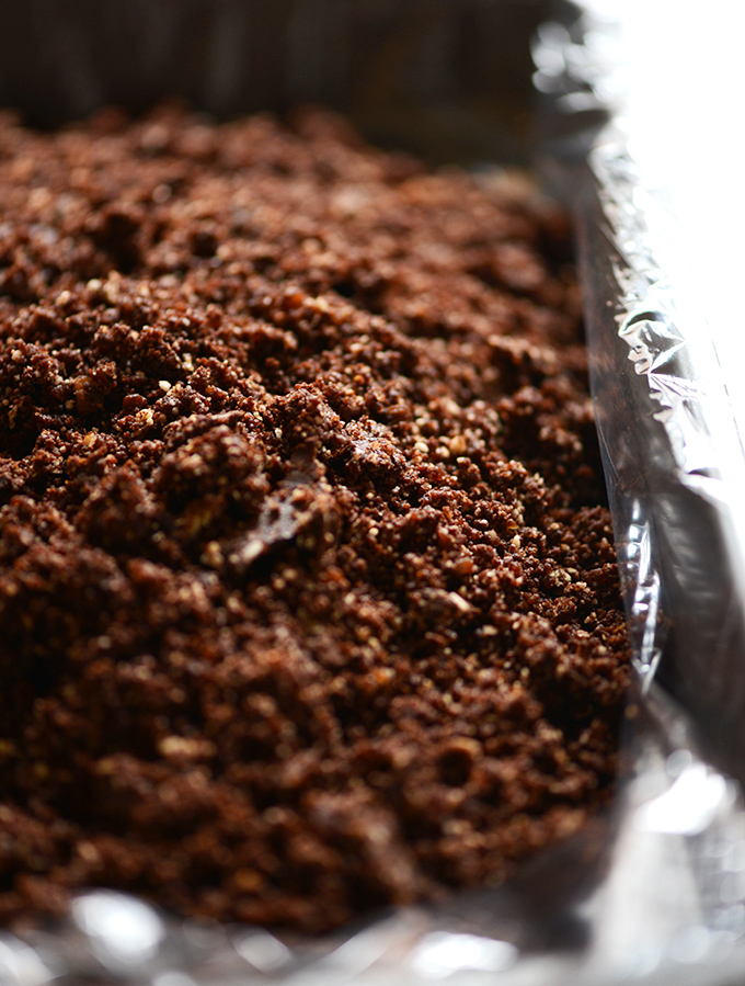 Raw Brownie Crumbles for making our No-Bake Peanut Butter Brownie Bars recipe