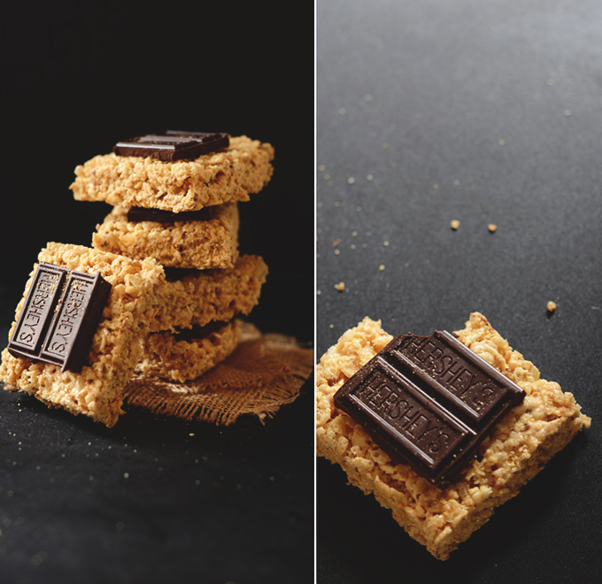 Stack of our Smores Rice Krispie Treats recipe
