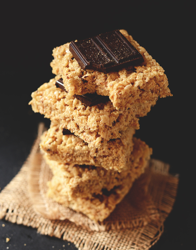 Smores Rice Krispie Treats stacked up like jenga pieces