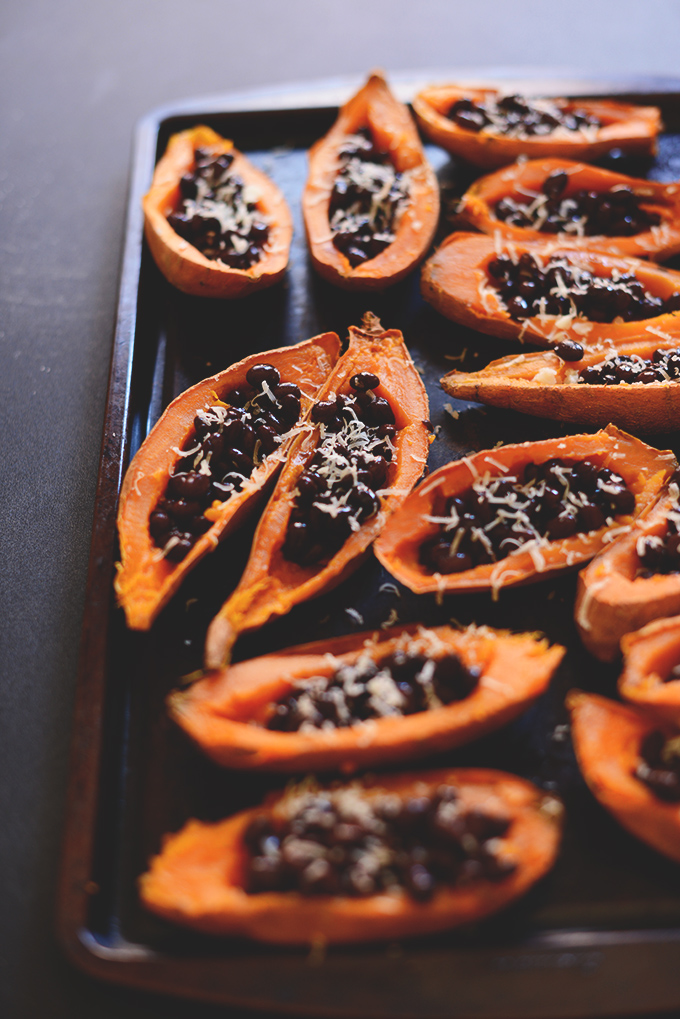 Baking sheet with a batch of our Sweet Potato Black Bean Boats recipe
