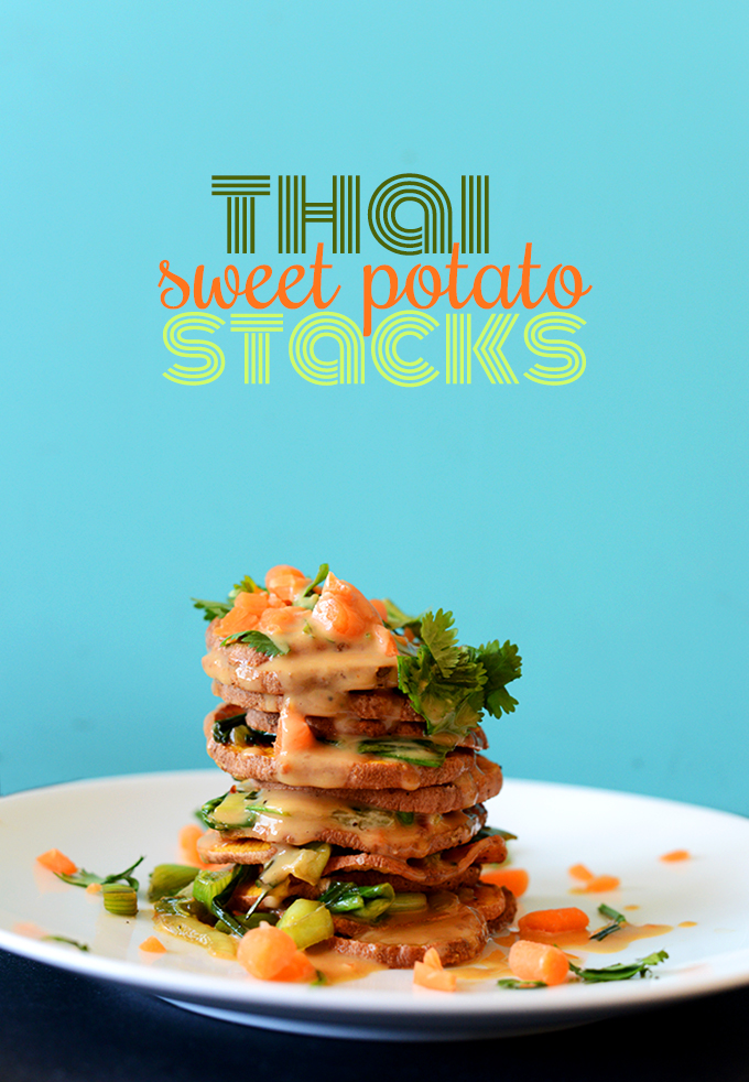 Side view of Thai Sweet Potato Stacks with peanut sauce cascading down the side