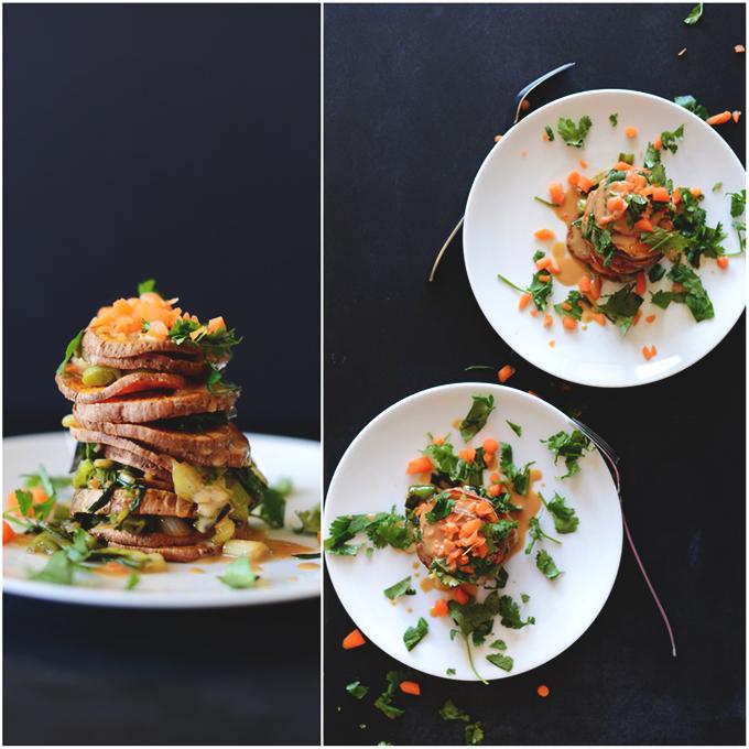 Plates of our Thai Sweet Potato Stacks recipe
