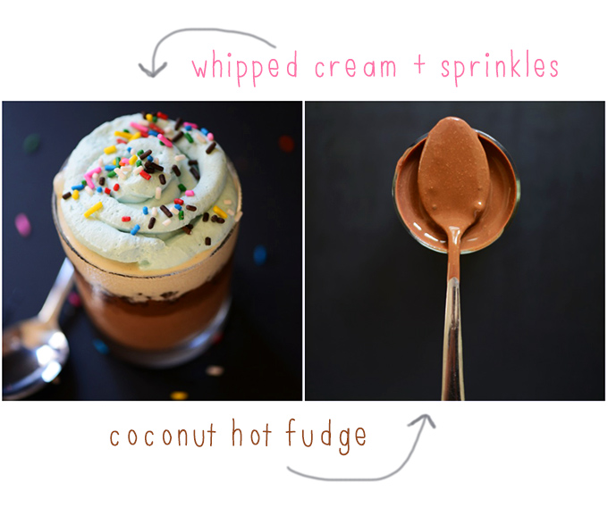A Vegan Ice Cream Cupcake and a spoonful of coconut hot fudge