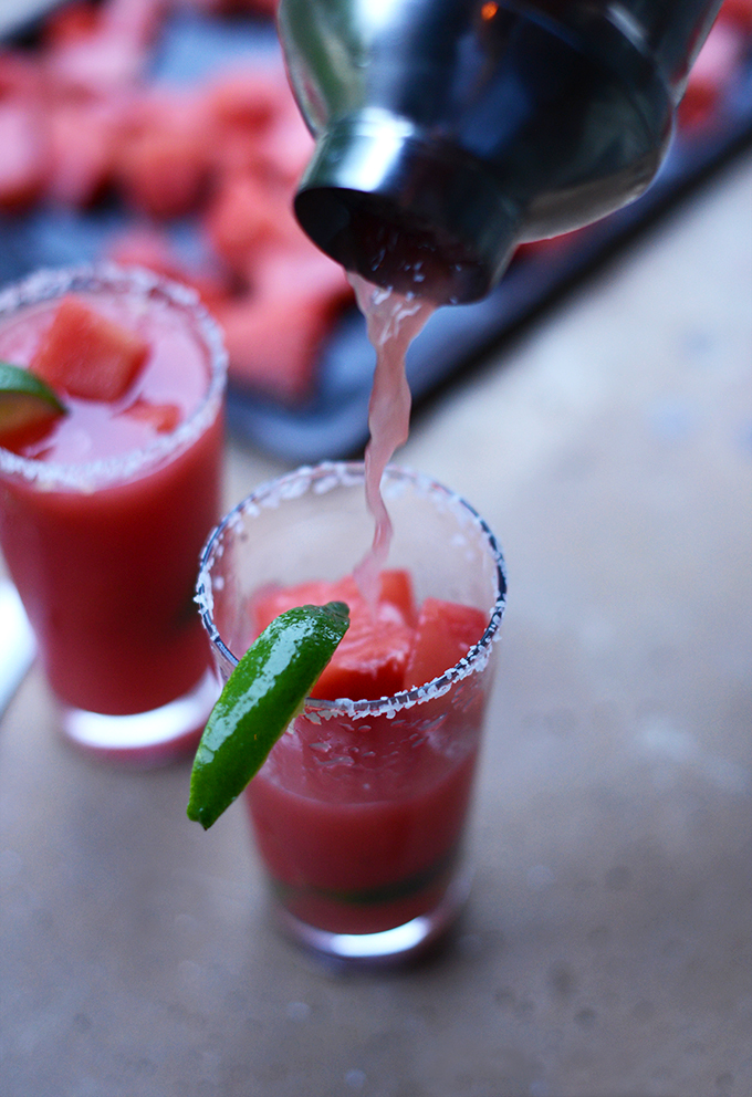 Pouring a glass of our refreshing Watermelon Lime Margaritas recipe