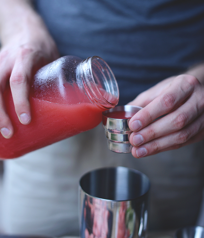 Making homemade Watermelon Margaritas with Lime