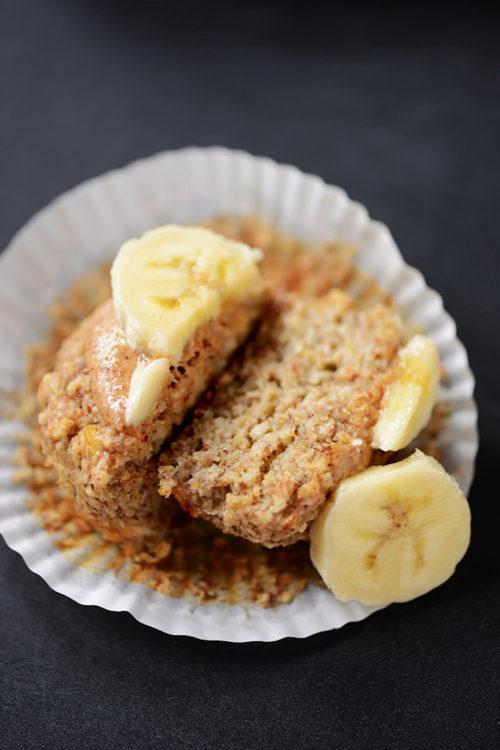 Banana Almond Meal Muffin cut in half