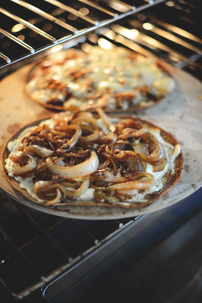 Cooking Caramelized Onion & Goat Cheese Flatbread on a pizza stone