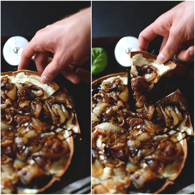 Grabbing a slice of our Goat Cheese Caramelized Onion Pizza recipe