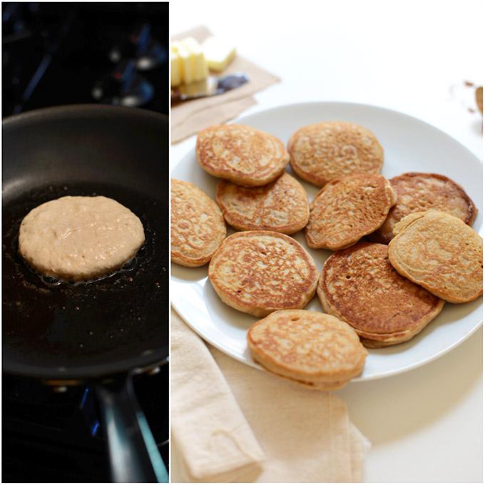Skillet and plate of our Mini Cinnamon Sopapilla Pancakes recipe