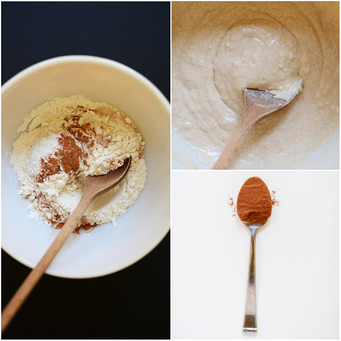 Spoonful of cinnamon and bowls of batter for making Mini Sopapilla Pancakes