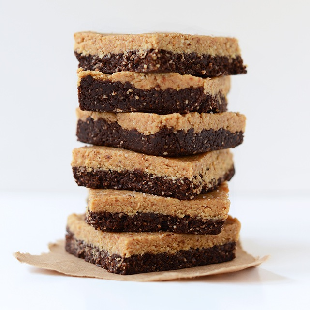 Stack of 2-Layer No-Bake Peanut Butter Brownie Bars