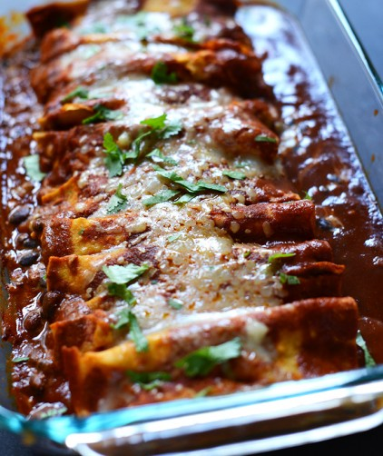 Pan of Spicy Black Bean Enchiladas for a simple vegetarian dinner