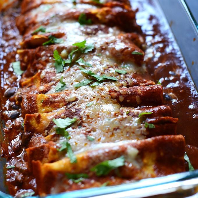 Pan of Spicy Black Bean Enchiladas for a simple vegetarian dinner