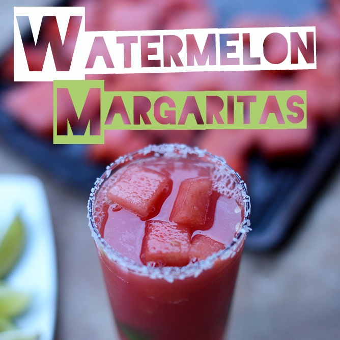Homemade Watermelon Lime Margarita with a salted rim