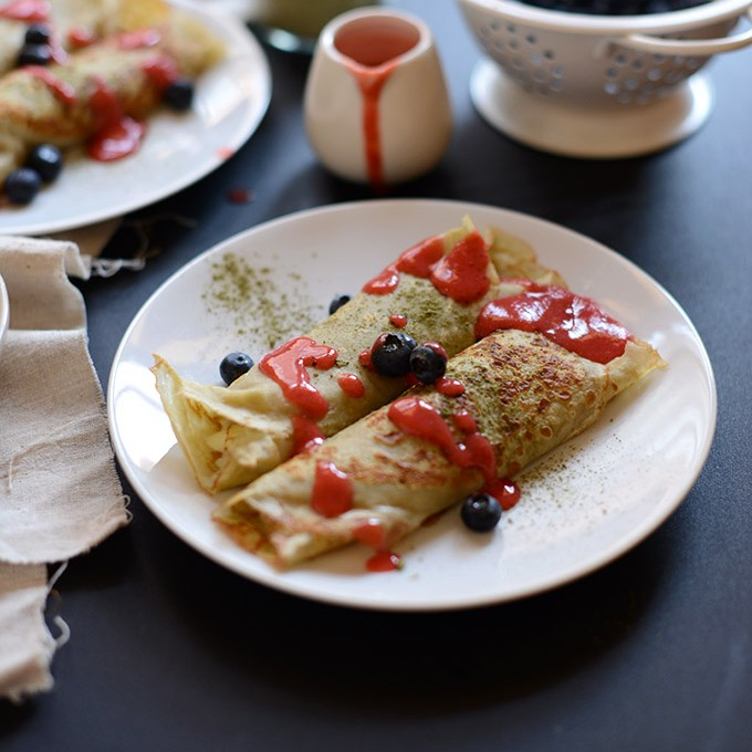 Gluten-Free Green Tea Crepes & White Chocolate-Coconut Filling