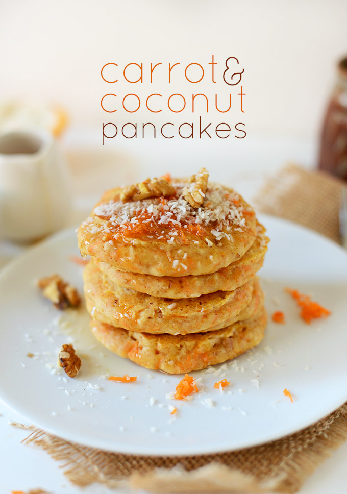 Plate stacked tall with a batch of our Carrot and Coconut Vegan Pancakes recipe