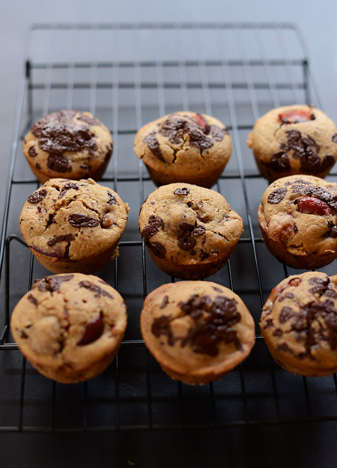 Cooling rack with a batch of our Cherry Chocolate Chip Muffins recipe