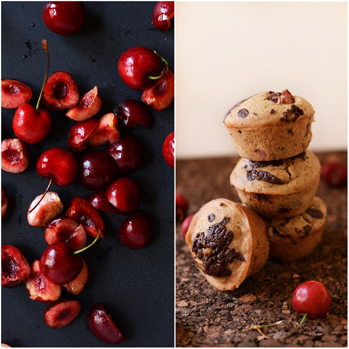 Fresh cherries and a stack of vegan Cherry Dark Chocolate Muffins