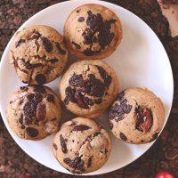 Small plate of six Vegan Cherry Dark Chocolate Chip Muffins