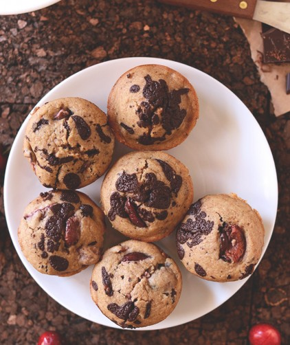 Freshly baked homemade Cherry Dark Chocolate Chip Muffins on a plate