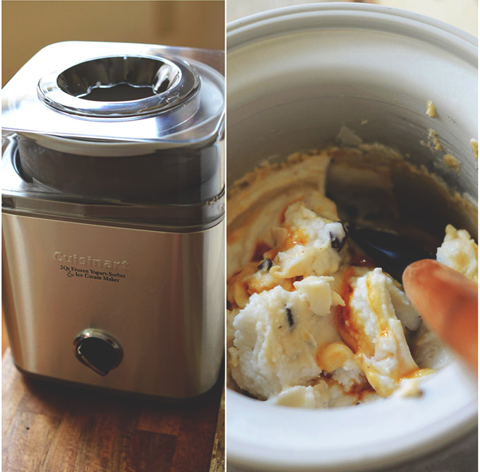 Cuisinart Ice Cream Maker filled with homemade ice cream batter