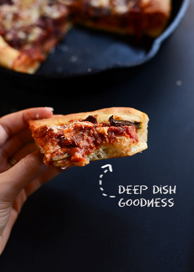 Crust piece of a slice of Deep Dish Pizza